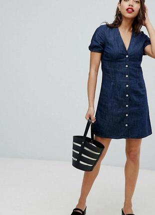 Джинсовое платье рубашка размер s-m