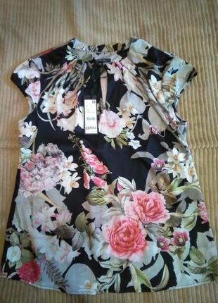 Блузка comma новая цветочный принт блуза комма черная в цветы