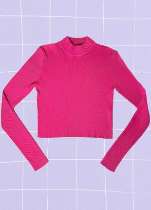 Яркий неоновый розовый короткий свитер (кроп кофта, лонгслив) в рубчик