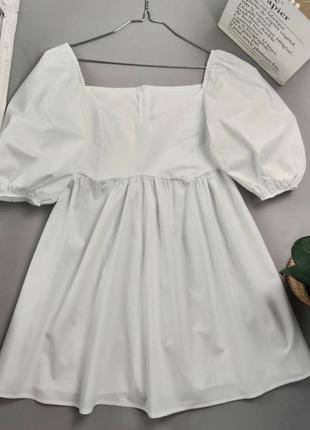 Платье с рукавами буфами коттон