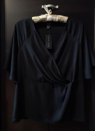 Новая с биркой чёрная блузка фиксированный запах широкий рукав р.16-18 new look