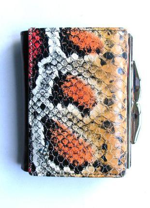 Кожаный кошелек с тиснением под питона, 100% натуральная кожа, доставка бесплатно