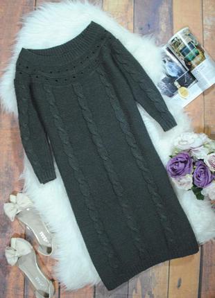 Темно-серое теплое вязаное платье  в0554*  dorothy perkins размер uk12/40 (m)
