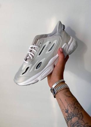 ❤ женские серые текстильные кроссовки adidas  ozweego celox grey one/ftr white/halo blue ❤