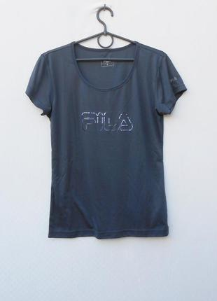 Трикотажная спортивная футболка  fila снадписью бренда