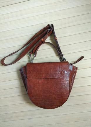 Шикарная кожаная сумка рыжая с тиснением под рептилию италия