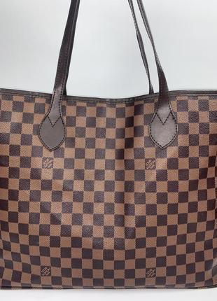 Большая фирменная сумка- шопер на плечо с кошельком louis vuitton.