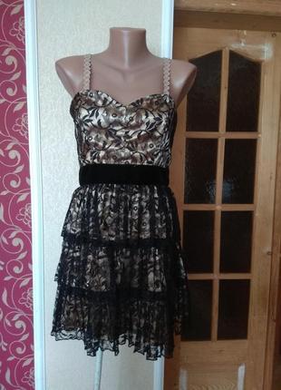 Коктельне платтячко золоте з чорним ,розмір 12\40