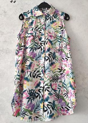 Блуза удлиненная цветочный принт цветы s m