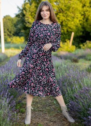 Милое и нежное платье из штапеля с длинным рукавом в стиле бохо