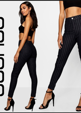 Джинсы черные в светло-серую полоску, полосатые джинсы, штаны, низкий рост, с высокой посадкой