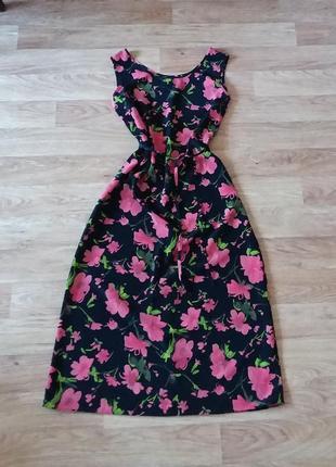 Платье миди в цветочный принт с поясом (сарафан) сукня міді, xl-xxl
