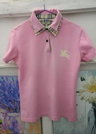 Винтажное поло burberry розового цвета р.s