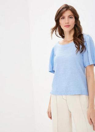 Голубая натуральная блузка красивый короткий рукав лён,вискоза р, 8-10 collection marks&spencer