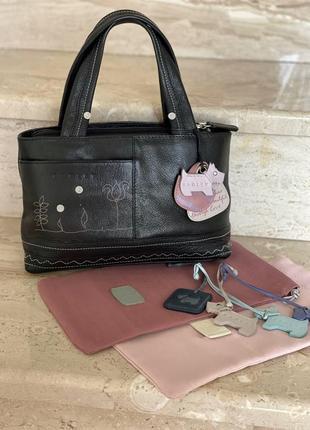 Сумка radley london/сумочка натуральная кожа radley/мини сумка черная radley/кожаная сумка