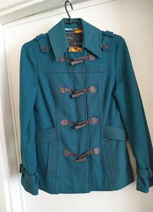 Распродажа всего неделю!изумрудно-синие осеннее пальто