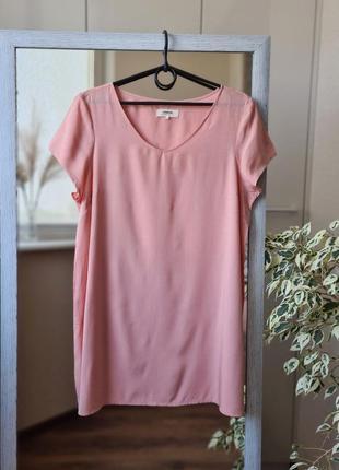 Розовая удлиненная летняя блузка из вискозы 🌺