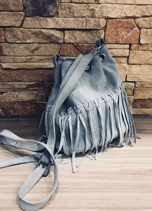 Серая замшевая сумка/мешок varese