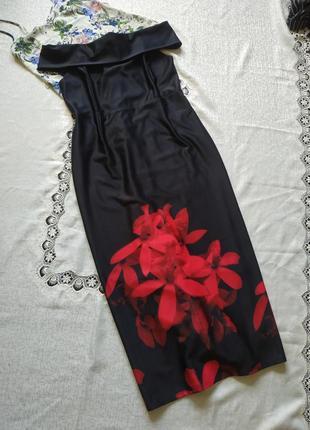 Шикарное макси платье с цветочным принтом