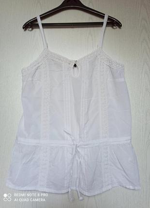 Легкая хлопковая блуза майка туника кружево блузка
