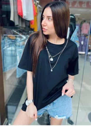 Женская футболка оверсайз с цепочкой