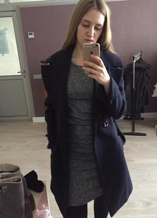 Шикарное плотное пальто халат миди приталенное осень - зима