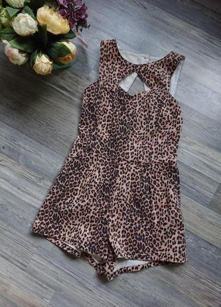 Женский комбинезон шортами ромпер леопардовой расцветки джинс
