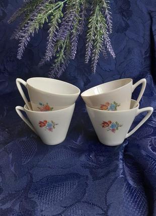 Чашки ссср кофейные тонкий костяной фарфор деколь барановка винтаж советские барановский фарфоровый клеймо чашка