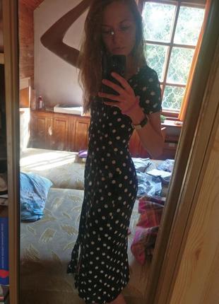 Новое длинное платье в горошек