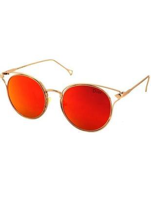 Очки солнечные круглые в золотой оправе с красными линзами
