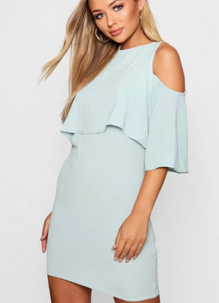 Ликвидация 🔥❤️коктейльное серо-голубое платье с открытыми плечиками boohoo