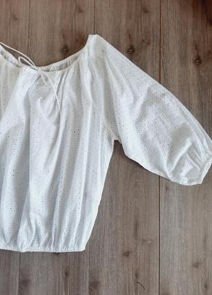 Блуза белая хлопок 100% ришелье размер 48