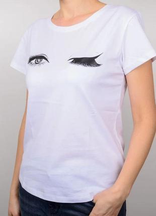 Стильная женская футболка, принт глазки, свободный крой, белый цвет