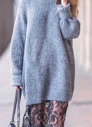 Длинный  шерстяной оверсайз свитер, туника,платье британского бренда ,размер s-l