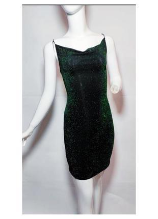 Платье с люрексом блестящее на вечеринку divided. на тонких бретелях, с красивым декольте.