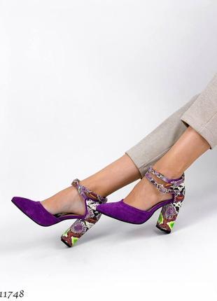 Босоножки туфли кожаные под рептилия