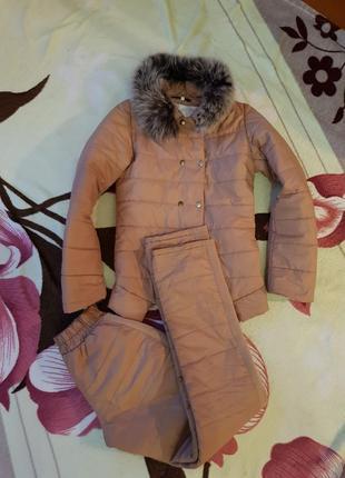 Женский костюм зимний/демисезонный/тёплый/куртка и штаны.размер 42/s/36