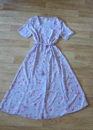 Платье миди в цветочный принт с поясом, сукня міді віскоза