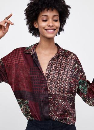 Шелковая оверсайз рубашка/блуза zara/печворк/ принт пейсли, блузка длинный рукав. размер м