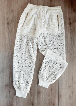 Брюки штаны прогулочные белые ажурные,размер 44
