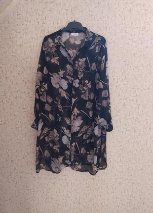 Платье рубашка из шифона, женская рубашка удлиненная