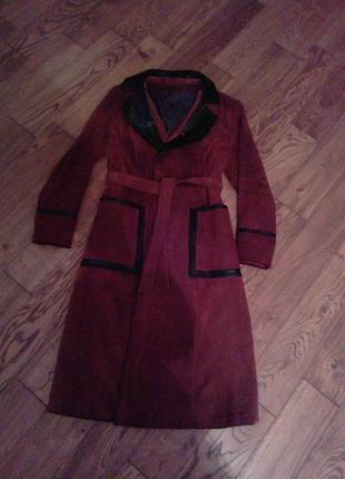 Кожаное пальто- халат,  осень- весна