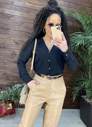 Блуза чёрная женская классическая шифон шифоновая