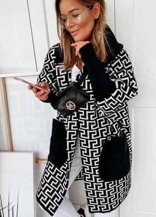 Трендовый кардиган пальто с шерстью альпака