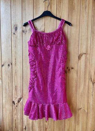 Костюм русалочка детский disney платье розовое с пайетками 9-10 лет 140