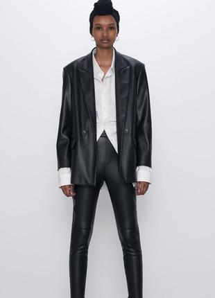 Кожаные брюки-леггинсы zara