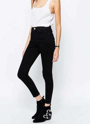Чёрные джинсы с завышенной талией посадкой высокая талия xs-s 34-36