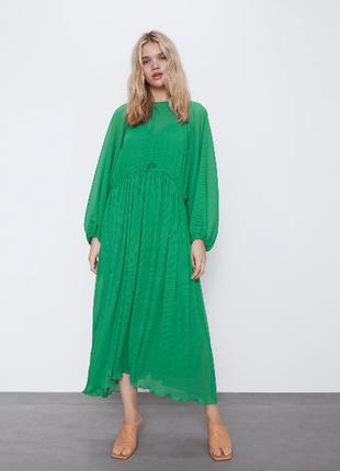 Шикарное платье в мелкое плиссе zara