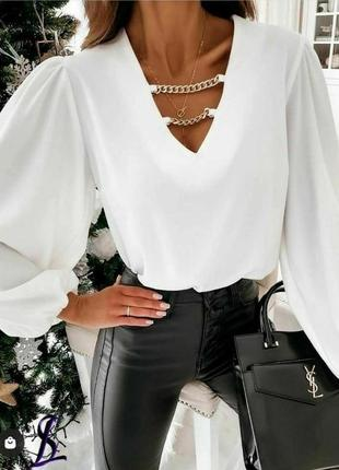 Блуза белая женская с цепью шифон шифоновая блузка