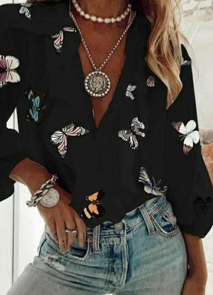 Блуза чёрная с бабочками шифоновая шифон с воланом